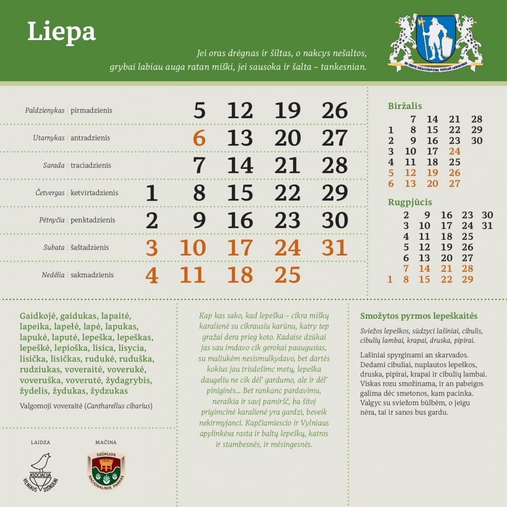 Dzūkų kalendorius, sieninis