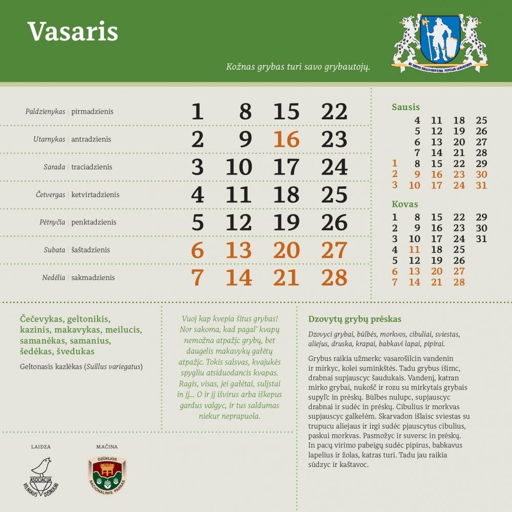 Dzūkų kalendorius, stalinis